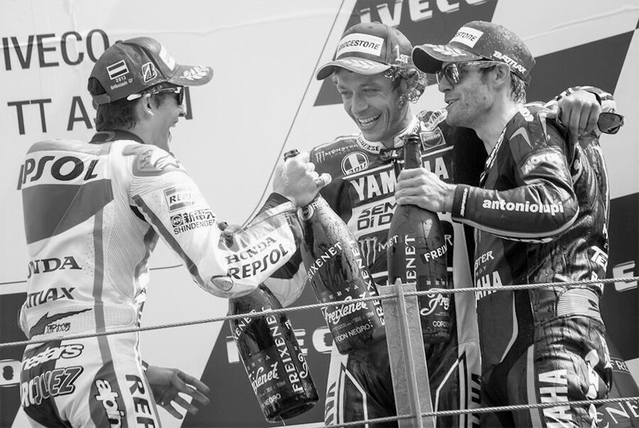 Crutchlow and Rossi together on Podium